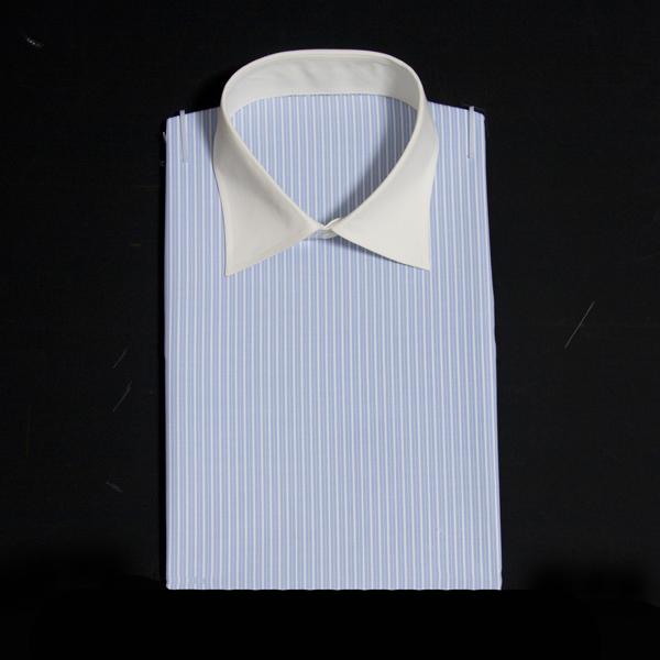 ストライプ柄の薄いブルー/ホワイトでクレリック見本