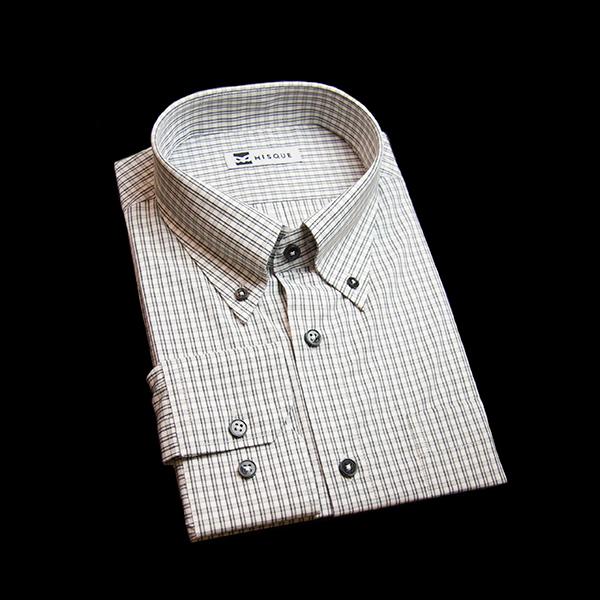 ブラックのチェック柄 ボタンダウンカラーレギュラー 角落ち(カットオフ)のワイシャツ