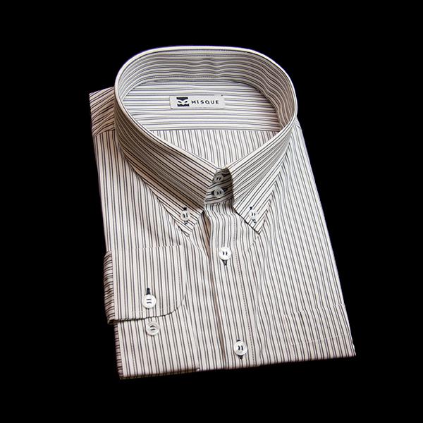 ブラックのストライプ柄 ボタンダウンカラー ドゥエボットーニ レギュラー ラウンドのワイシャツ