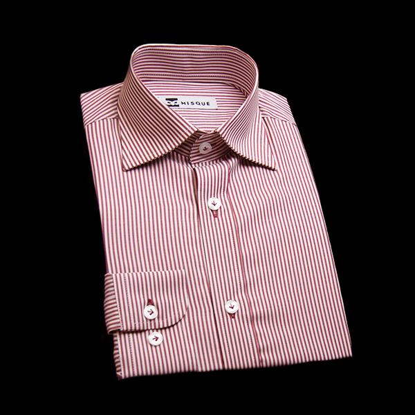 レッドストライプのワイドカラーシャツ