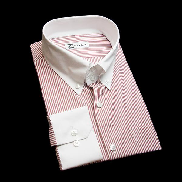 レッドのストライプ柄 ボタンダウンカラー ドゥエボットーニ  レギュラー 角落ち(カットオフ)のワイシャツ