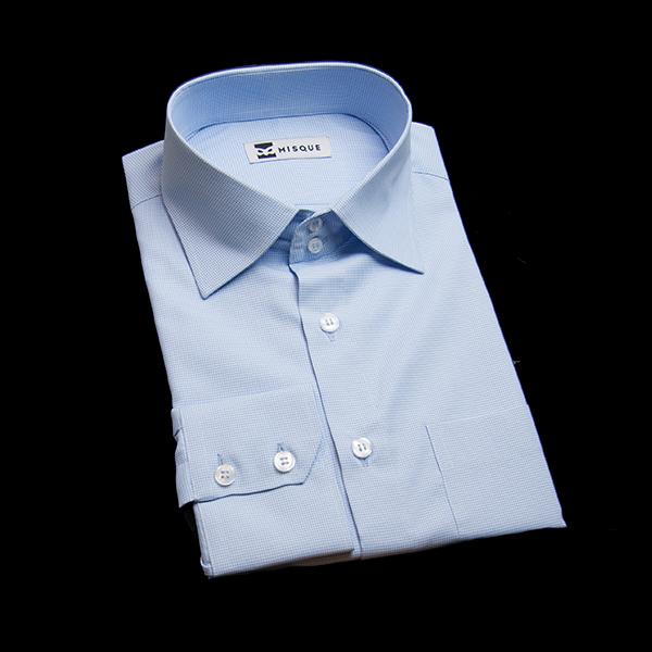 ブルーのチェック柄 セミワイドカラー ドゥエボットーニレギュラー ツーボタン 角落ち(カットオフ)のワイシャツ