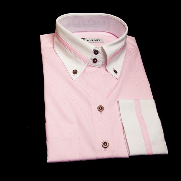 明るめピンクの特殊柄 ボタンダウンカラー ドゥエボットーニ  レギュラー ラウンドのワイシャツ