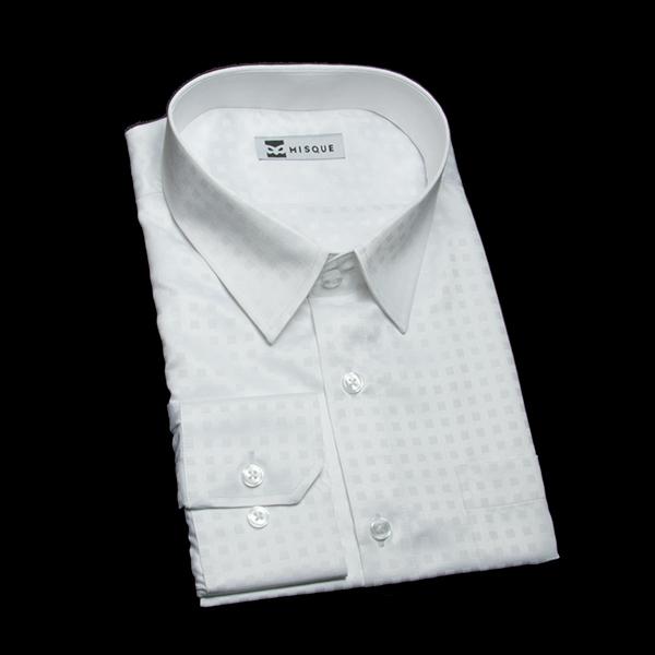 ホワイトの特殊柄 ショートポイントカラー レギュラー 角落ち(カットオフ)のワイシャツ