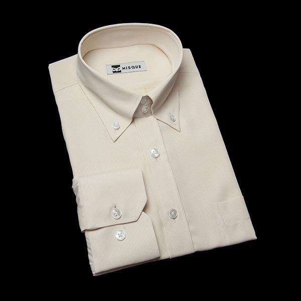 イエローのストライプ柄 ボタンダウンカラー ドゥエボットーニ  レギュラー 角落ち(カットオフ)のワイシャツ