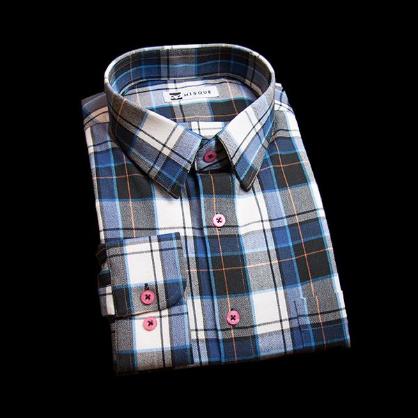 ブルーのチェック柄 ショートポイントカラーレギュラー ラウンドのワイシャツ