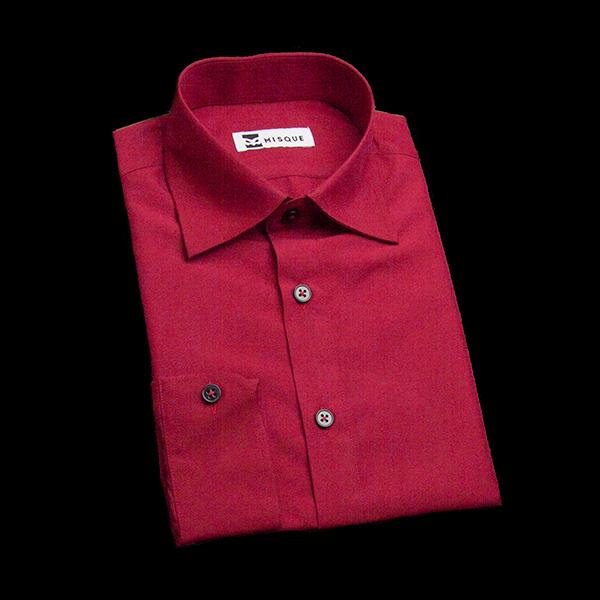 レッドの無地柄 セミワイドカラーレギュラー ラウンドのワイシャツ