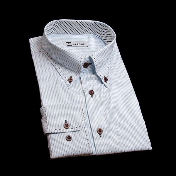 水色の特殊柄 ボタンダウンカラーレギュラー 角落ち(カットオフ)のワイシャツ