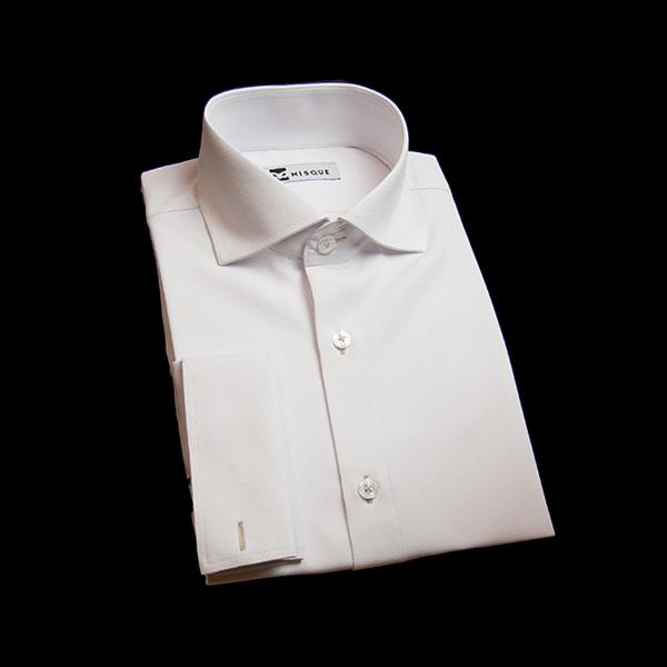 ホワイトの無地柄 ワイドカラーダブルカフス(フレンチカフス)のワイシャツ