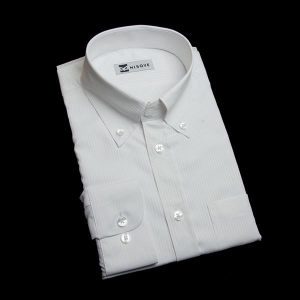 ホワイトのストライプ柄 ボタンダウンカラー レギュラー ラウンドのワイシャツ