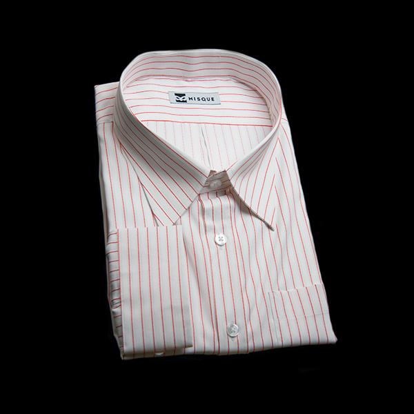 レッドストライプのレギュラーシャツ