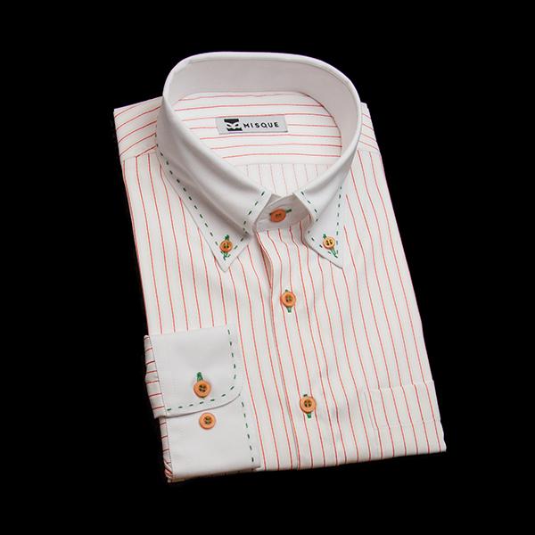 ホワイト/レッドのストライプ柄 ボタンダウンカラー レギュラー ラウンドのワイシャツ