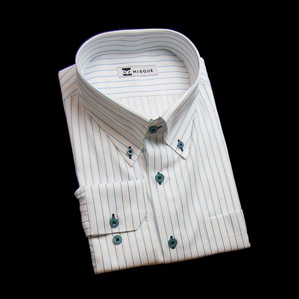 ホワイト/水色のストライプ柄 ボタンダウンカラーレギュラー 角落ち(カットオフ)のワイシャツ
