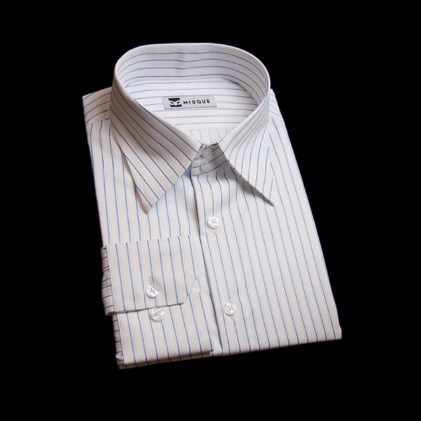 ホワイト/ブルーのストライプ柄 レギュラーカラー ドゥエボットーニレギュラー 角落ち(カットオフ)のワイシャツ
