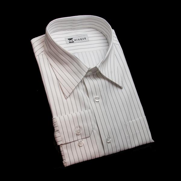 ホワイト/グレーのストライプ柄 レギュラーカラーレギュラー 角落ち(カットオフ)のワイシャツ