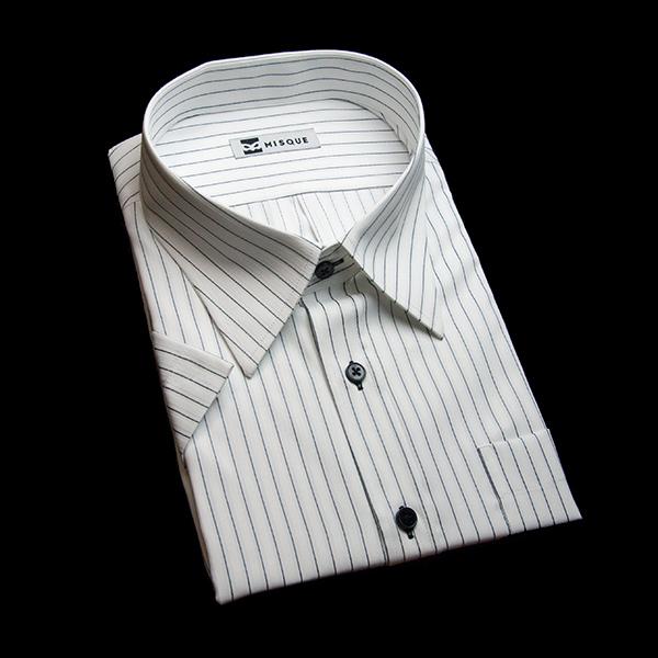 ホワイト/グレーのストライプ柄 レギュラーカラー 半袖のワイシャツ