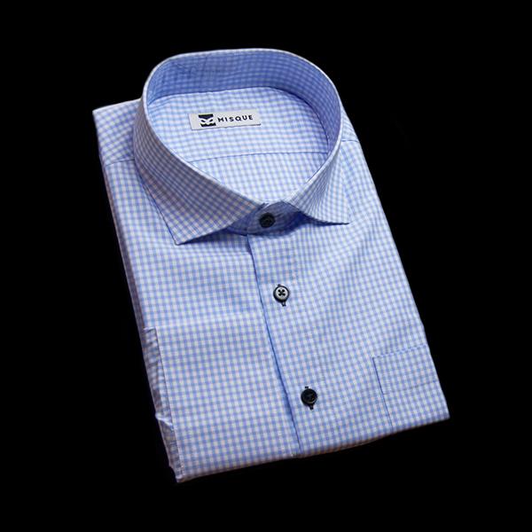 水色チェックのワイドカラーシャツ