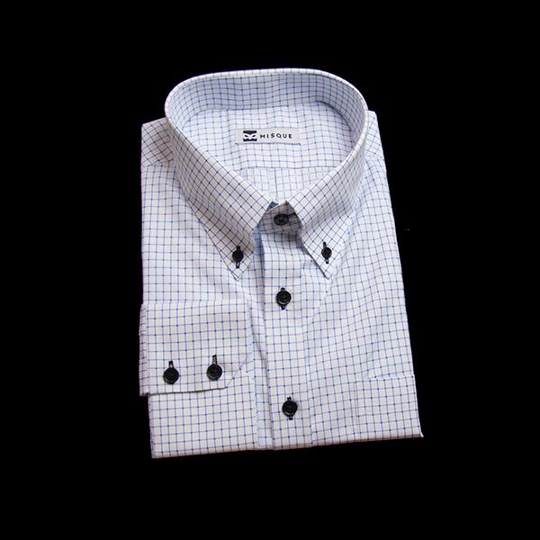 ブルーのチェック柄 ボタンダウンカラーレギュラー ツーボタン 角落ち(カットオフ)のワイシャツ