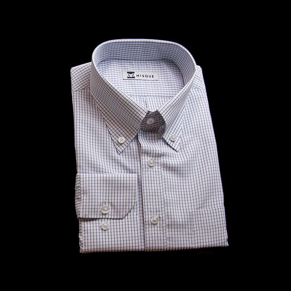 ネイビーのチェック柄 ボタンダウンカラーレギュラー 角落ち(カットオフ)のワイシャツ