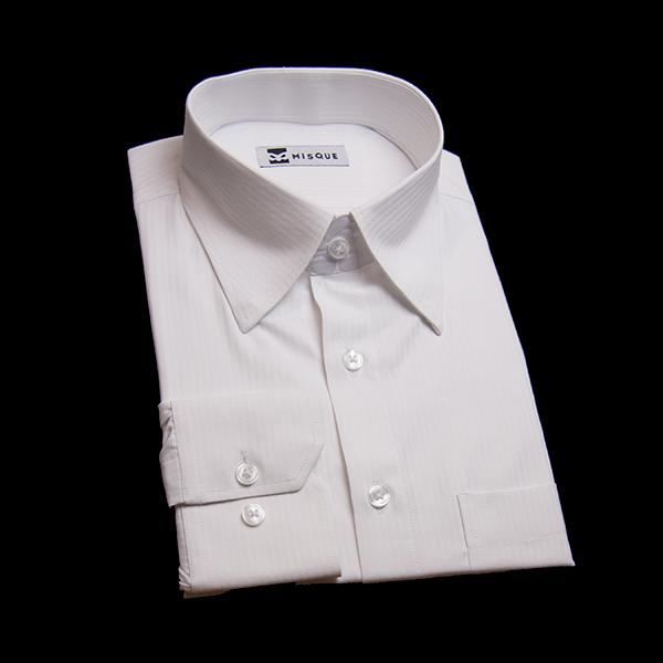 ホワイトのストライプ柄 スナップダウンカラーレギュラー 角落ち(カットオフ)のワイシャツ