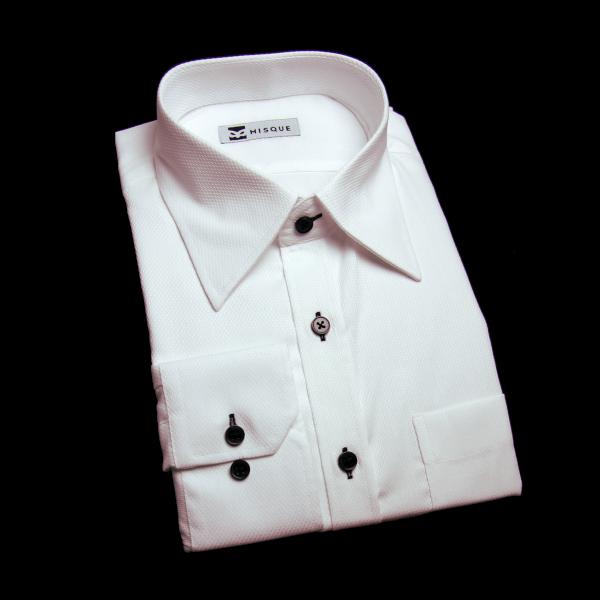 ホワイトの特殊柄 レギュラーカラーコンバーチブルカフス 角落ち(カットオフ)のワイシャツ