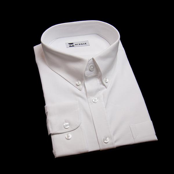 ホワイトの無地柄 ボタンダウンカラーレギュラー ラウンドのワイシャツ