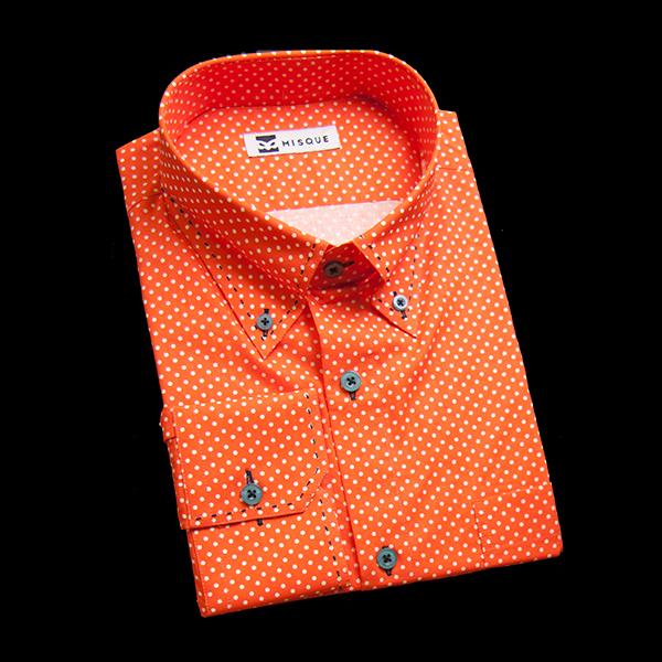 オレンジの特殊柄 ボタンダウンカラーコンバーチブルカフス 角落ち(カットオフ)のワイシャツ