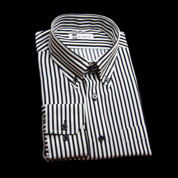 シマウマのストライプ柄 ボタンダウンカラー レギュラー 角落ち(カットオフ)のワイシャツ