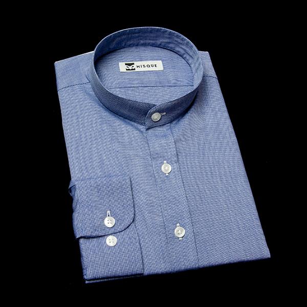 濃いブルーの無地柄 スタンドカラー レギュラー ラウンドのワイシャツ