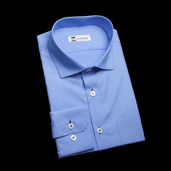 グンジョウ色の無地柄 ワイドカラーレギュラー 角落ち(カットオフ)のワイシャツ