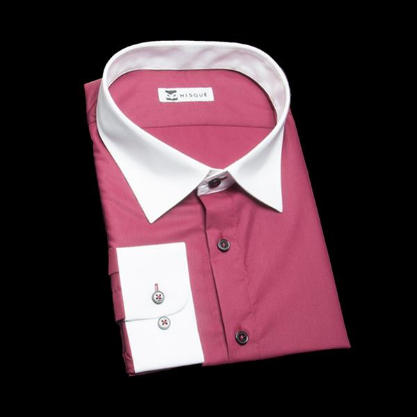 ワインレッドの無地柄 セミワイドカラー レギュラー ラウンドのワイシャツ