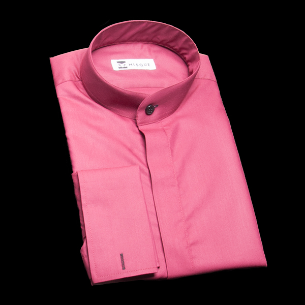 ワインレッドの無地柄 スタンドカラー ダブルカフス(フレンチカフス)のワイシャツ