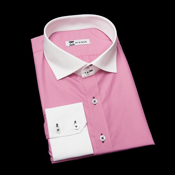 ピンクの無地柄 ワイドカラー ドゥエボットーニ レギュラー ツーボタン 角落ち(カットオフ)のワイシャツ