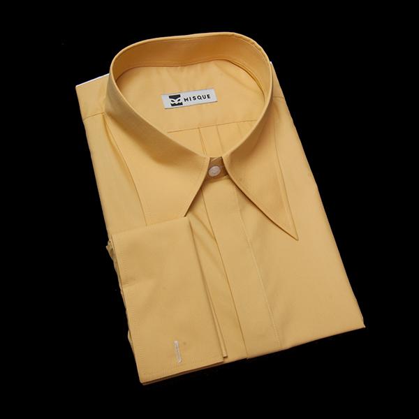 ダークイエローの無地柄 ロングポイントカラー ダブルカフス(フレンチカフス)のワイシャツ