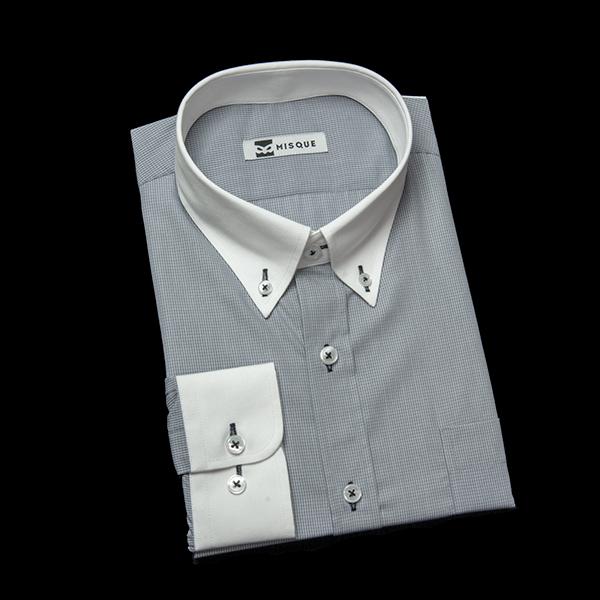 グレーのチェック柄 ボタンダウンカラー コンバーチブルカフス ラウンドのワイシャツ