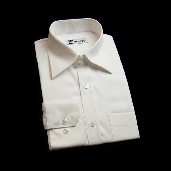 ホワイトの無地柄 レギュラーカラーレギュラー 角落ち(カットオフ)のワイシャツ